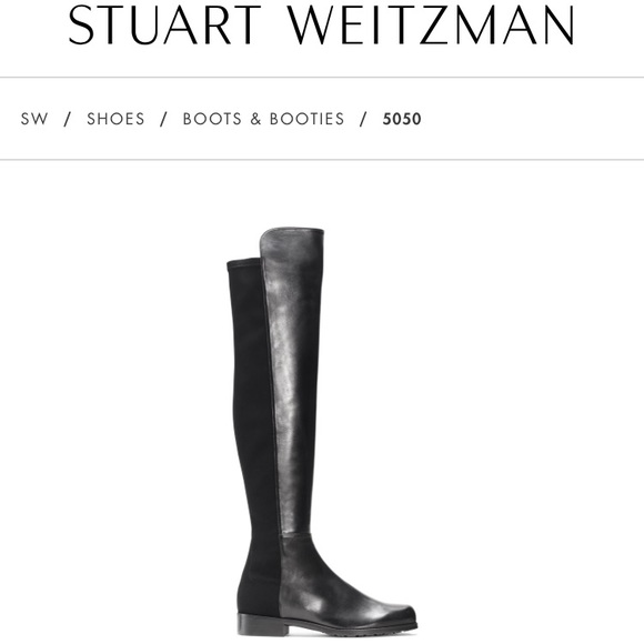b47ea43ae43 NWT Stuart Weitzman 5050 Black Nappa Boots Sz 6.5